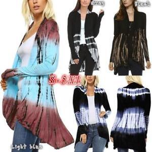 Women-039-s-Fashion-Tie-Dye-Hi-Low-Open-Cardigan-Long-Sleeve-Asymmetric-Top-Blouse