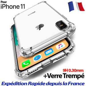 Antichoc-Bumper-Coque-Verre-iPhone-11-Pro-MAX-XS-XR-Silicone-Case-Protection