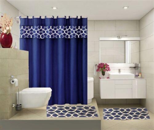 COMPLETE BATHROOM SET 2 BATH MATS 1 SHOWER CURTAIN /&FABRIC HOOKS PRINTED DESIGNS