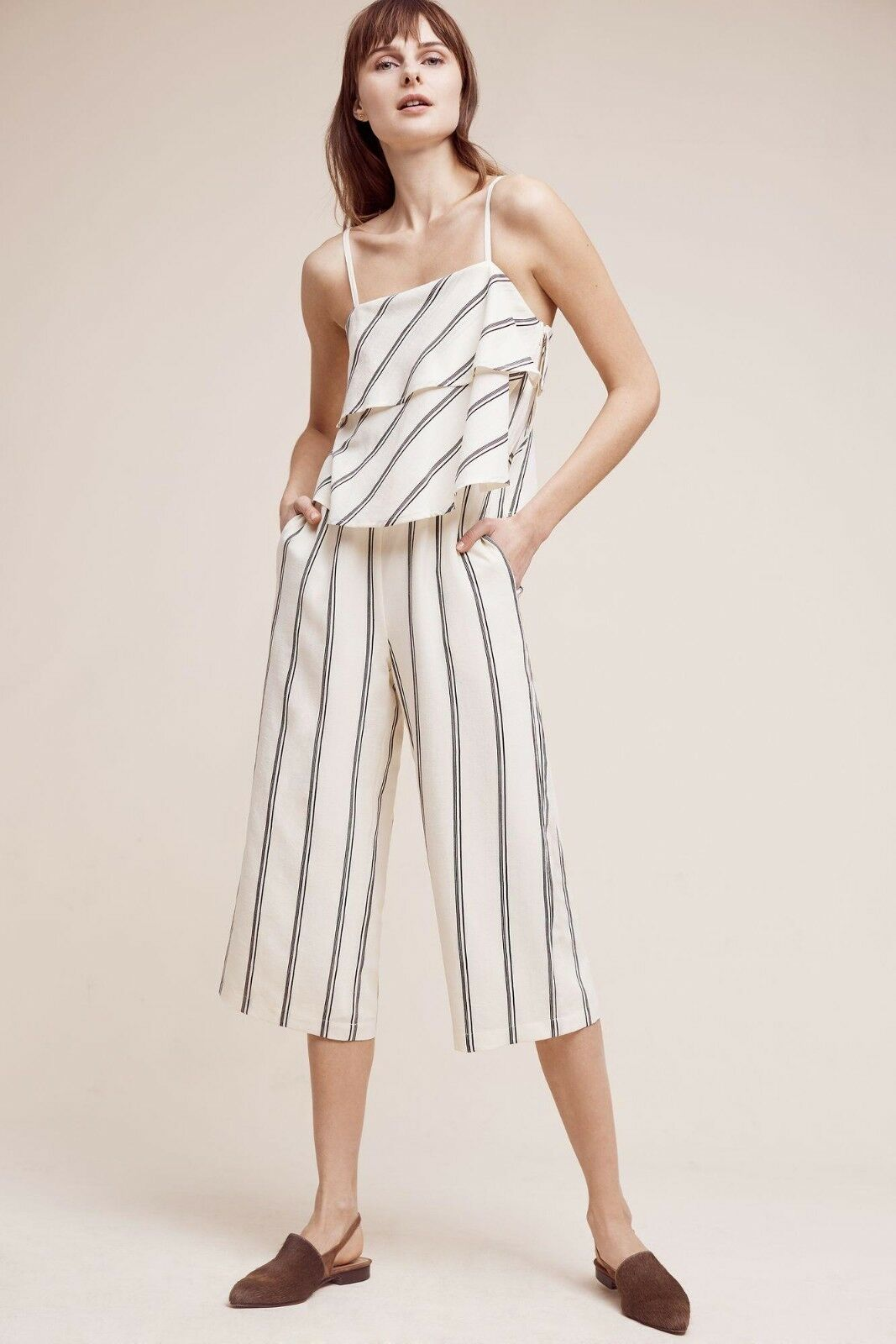 Anthropologie Elevenses Women's Ivory Striped Kinley Jumpsuit Sizes L, LP  148