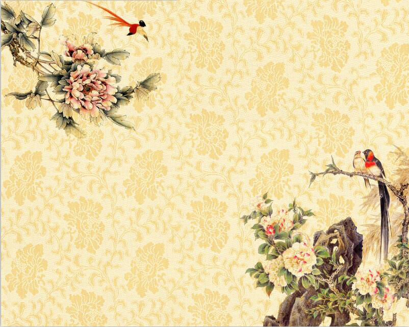 3D Textures stone flower Bird Wall Paper Print Decal Wall Deco Indoor wall Mural