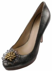 Coach-Bergen-Womens-Soft-Gold-Crackled-Leather-Heels-size-9