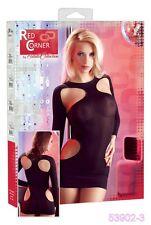 SeXy Transparents Langarm Minikleid Kleid Schwarz Cut Out Poledance GoGo Gr S