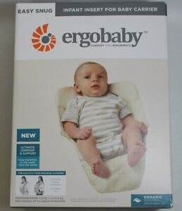 OPEN-BOX-Ergobaby-Easy-Snug-Infant-Insert-Organic-Cotton-Natural-Free-S-H