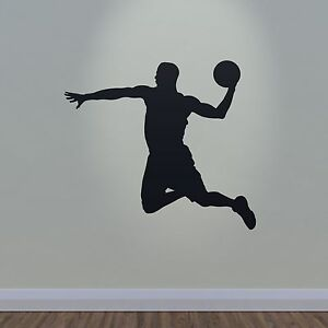 Basketball Wall Sticker Slam Dunk Player Outline Silhouette - Sporting wall decals