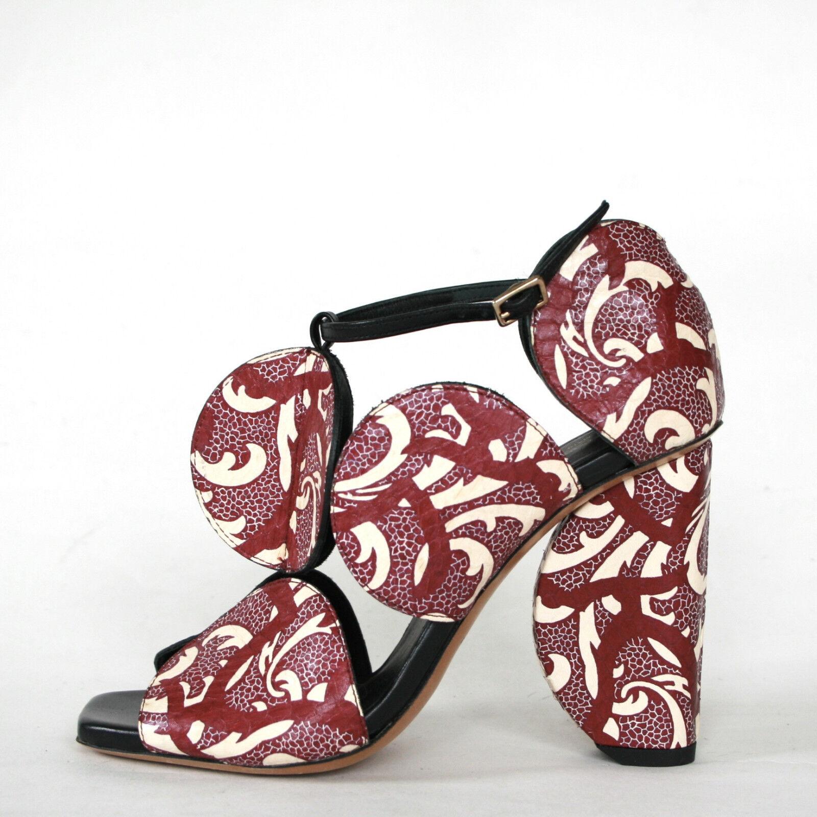 grande sconto DRIES VAN NOTEN circle circle circle cut high heel rosso pattern sandal square toed scarpe 35 NEW  marchi di moda