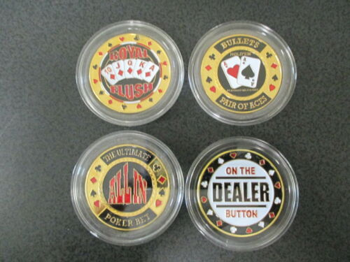 4 Misc Different Casino Poker Card Guard Cover Protector Coins NEW in Cases