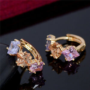 Fashion-Women-18k-GP-CZ-Rainbow-Crystal-Huggie-Hoop-Stud-Earrings-Gold-Jewelry