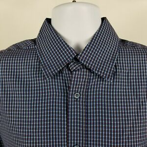 Bugatchi-Uomo-Mens-Blue-Brown-Check-L-S-Dress-Button-Shirt-Sz-Large-L