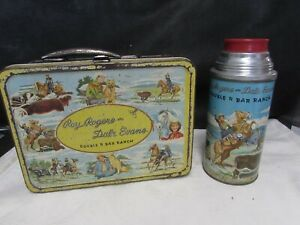 1953 Roy Rogers Dale Evans Double R Bar Ranch metal LUNCHBOX & THERMOS lunch box