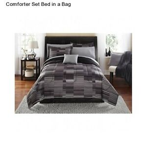 grey stripe full size comforter set bedding bedspread sheets bed in a bag ebay. Black Bedroom Furniture Sets. Home Design Ideas