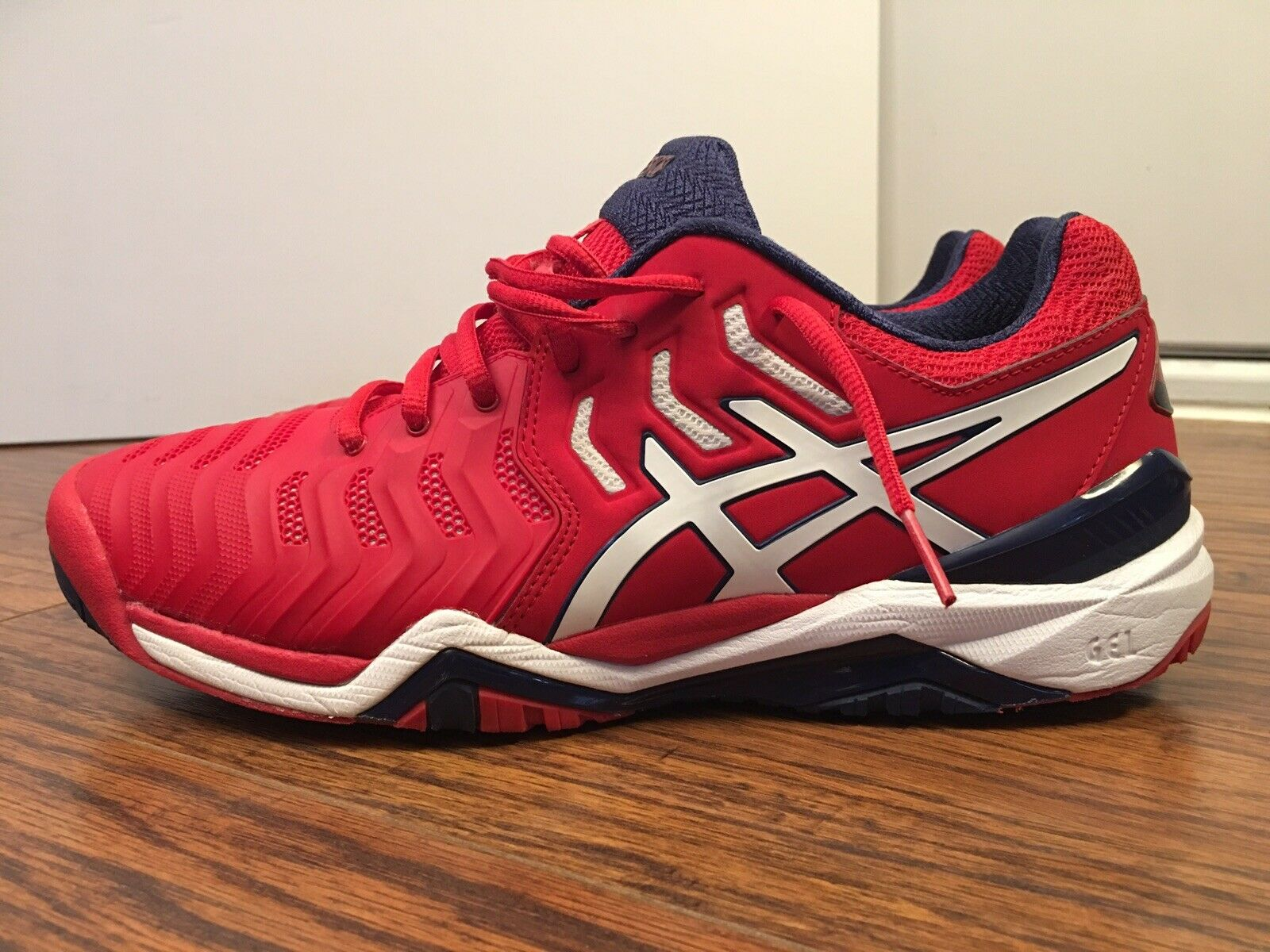 ASICS Gel-Resolution 7, E701Y, Red White bluee, Men's Tennis shoes, Size 9.5