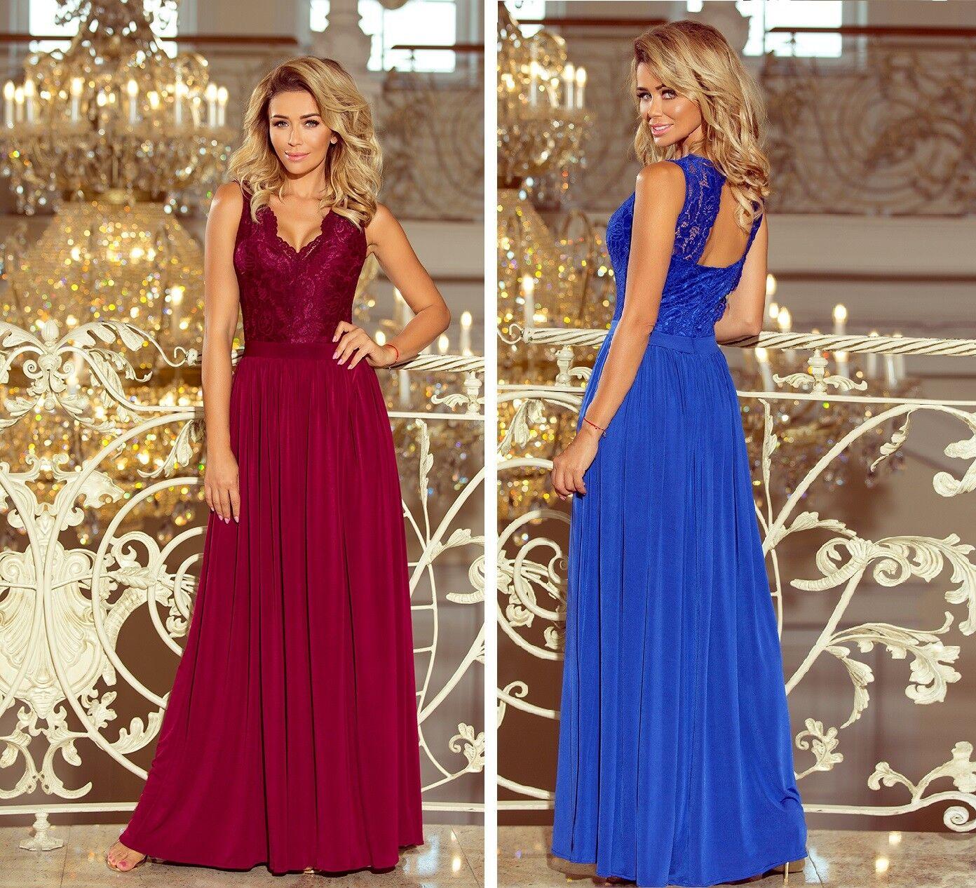 Numoco Kleid Abendkleid Rücken-Ausschnitt Spitze tailliert figurbetont