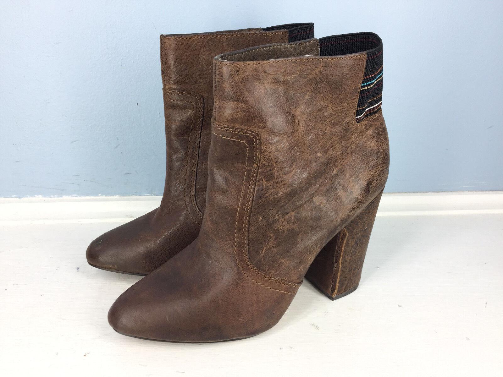 Joe's Jeans Braun Leder Pull On Ankle boot High Heel 6.5 Anthropologie EUC