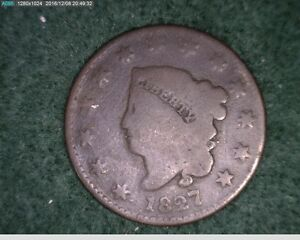 1827  Coronet Head Large Cent 1c one cent 1 cent penny ( 48s194 )