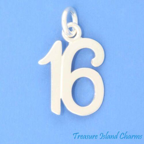 Numéro 16 16th Anniversaire Anniversaire .925 Sterling Silver Charm Sweet Sixteen