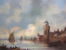 Hafen Holland Schiffe Maritim See  Meer Fischer Turm Gemälde Bild