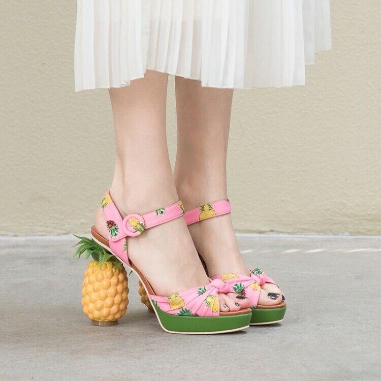 Femme Fashion Ananas Imprimé Talon Bride Cheville Plage Sandales Chaussures oqii