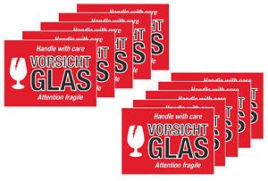 Aufkleber Sticker Etiketten Vorsicht Glas Zerbrechlich