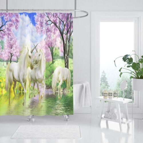 3D Unicorn Flower 2 Shower Curtain Waterproof Fiber Bathroom Home Windows Toilet