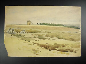 Old-Mill-in-Ruins-Drawing-in-Watercolour-Draw-Watercolor-Anonymous-Mill-in-Ruins