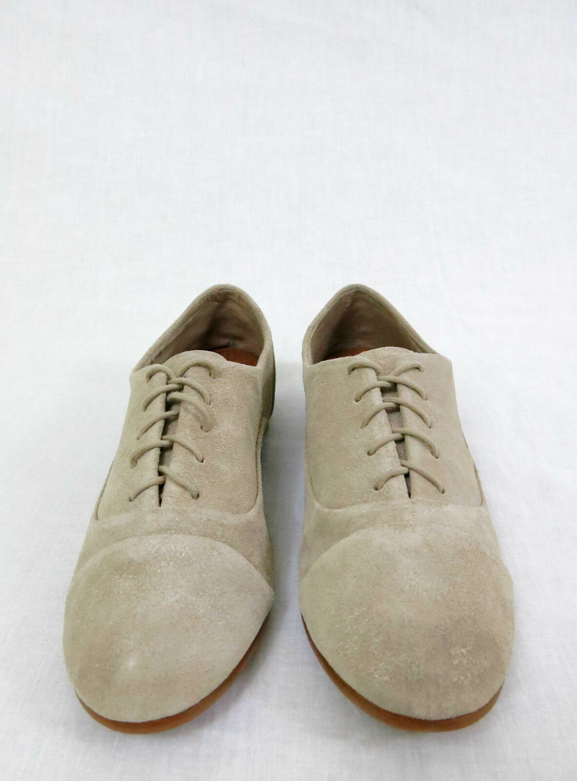 LUCKY BRAND Davie Oxfords Flats Lace-Up Suede Beige Taupe Shimmer Größe 8