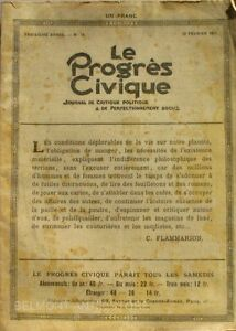 Le Progrès Civique N°79 1921 - Journal De Critique Politique - Henri Dumay Rare Dessins Attrayants;