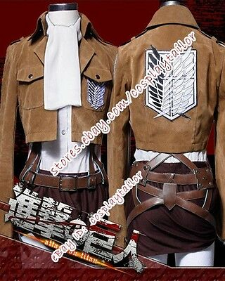 Attack On Titan Shingeki No Kyojin Levi Suede Cosplay Anime Costume Outfits New