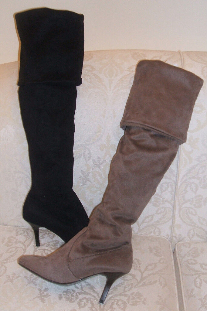 RRP £32 BNWOB NEXT SIZE 3 3.5 4 5 6 7 8 BLACK FAUX SUEDE OVER KNEE THIGH BOOTS
