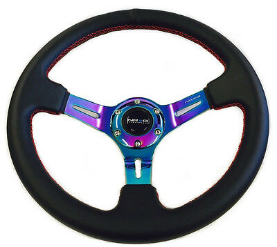 "NRG Steering Wheel 350mm Black Leather Neochrome Spoke 3"" Deep Dish & Horn"