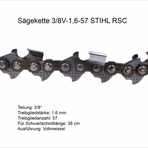 3//8 1.6 mm 57 TG Vollmeissel Stihl Sägekette Rapid Super RS