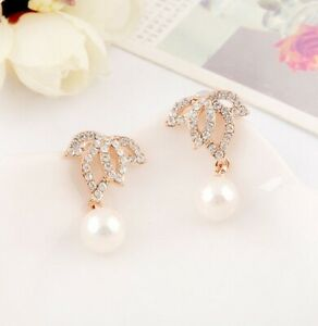 Womens-18k-Rose-Gold-Plated-9mm-Mother-of-Pearl-Drop-Dangle-Stud-Earrings-Gift