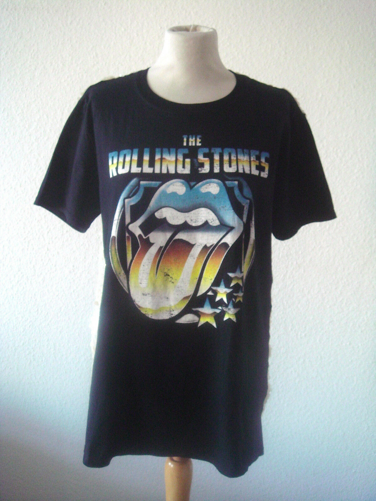 THE ROLLING STONES T-Hemd Vintage Unikat mit Pailletten am Rücken 100% CO Gr.S