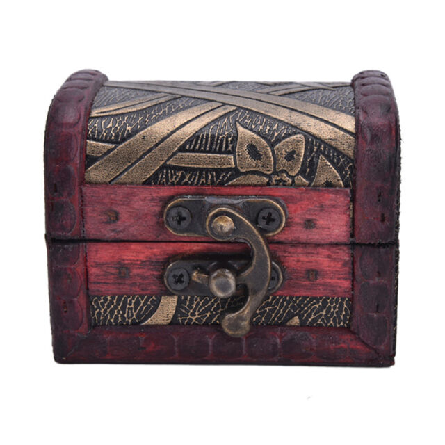 Vintage Jewelry Lock Necklace Bracelet Storage Organizer Wooden Case Gift Box FU