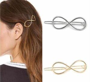 Silver-Infinity-Hair-Clip-Pin-Twist-Knot-Wedding-Boho-Goth-Punk-Fashion-Bridal