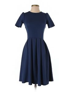 a82127611ef Women Lularoe Amelia Navy Blue Solid Textured Fit   Flare Dress Size ...