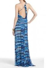$548 Bcbg Max Azria One Shoulder Long Dress Gown, 100% Silk, Size 2 Small S NWT