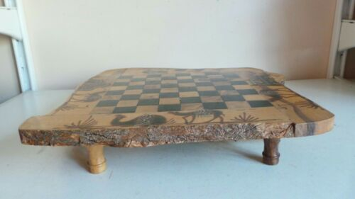 Vintage Old Solid Wood Slice Chess Board w Storage Drawers Camel Design Home Dec