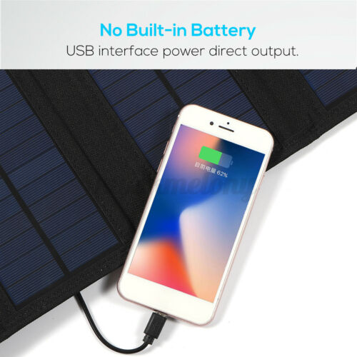 US 30W 5V USB Solar Panel 4 Folding Power Bank Outdoor Camping Battery Charger