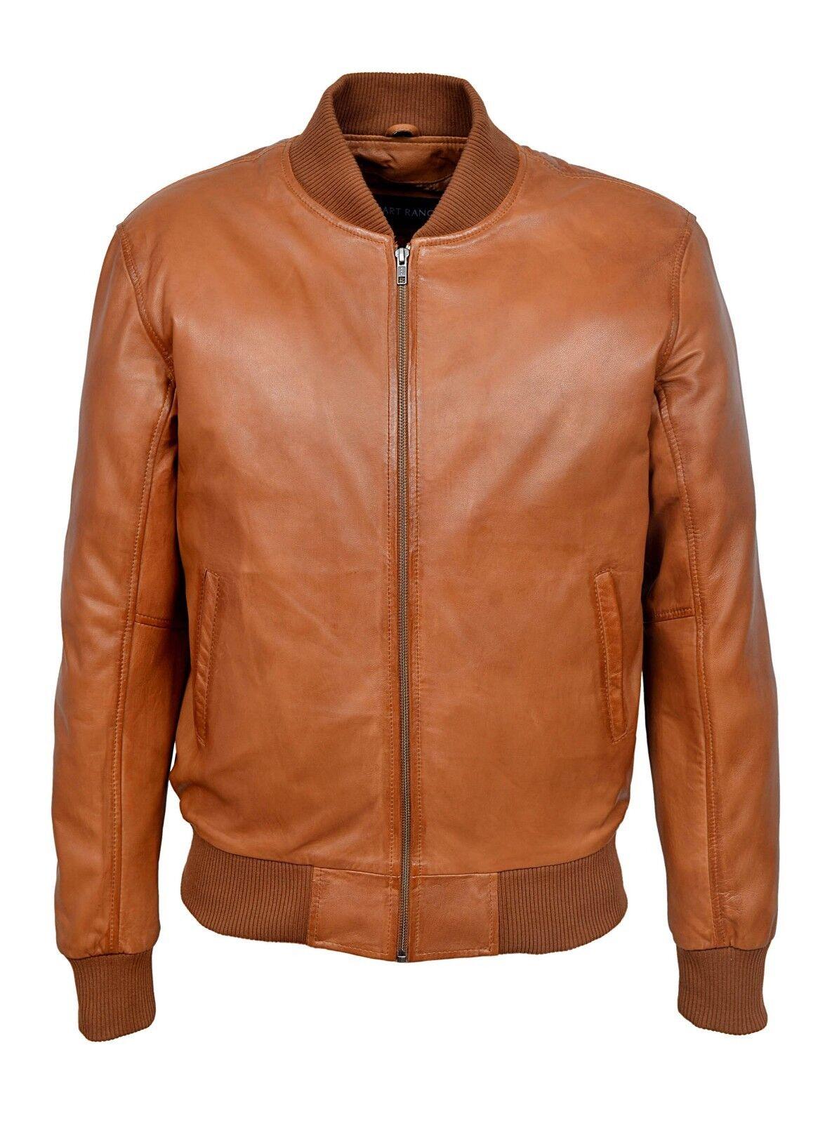 Men's Retro Leather Bomber TAN Classic Style 80'S Italian Soft Nappa Leather New