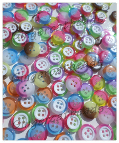 Mixed Colour 50 x 4-Hole Resin Buttons 12.5mm 2-Tone