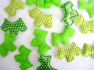 60-Felt-Satin-Polka-Dot-Plaid-Fabric-Scottie-Dog-Puppy-Applique-Craft-H319-Green