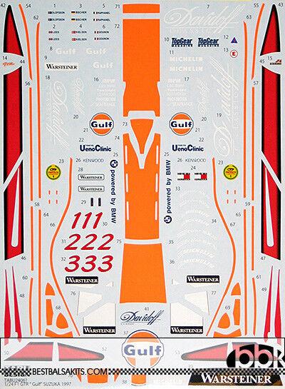1 24 FULL SPONSOR DECAL McLAREN F1-GTR GULF SUZUKA 1997 for AOSHIMA