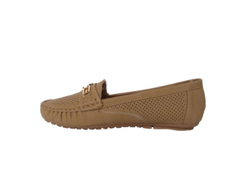 AZAM Womens Faux Suede Padded Insole Classic Casual Driving Flats Tan