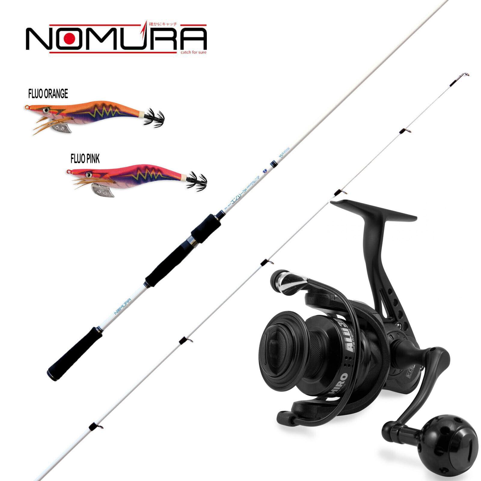 KP3120 Kit pesca Egi Canna Nomura Izu SW 11-21 Gr 270 Mulinello totanare    CSP