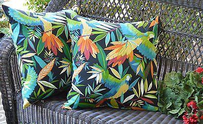 2 Pk Decorative Throw Zipper Pillow Covers Parrot Birds Indoor Outdoor USA