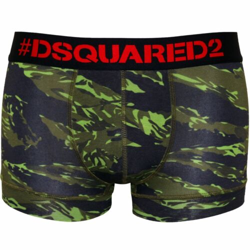 DSquared2 #Logo Camo Print Men/'s Boxer Trunk in Modal Stretch Military Green