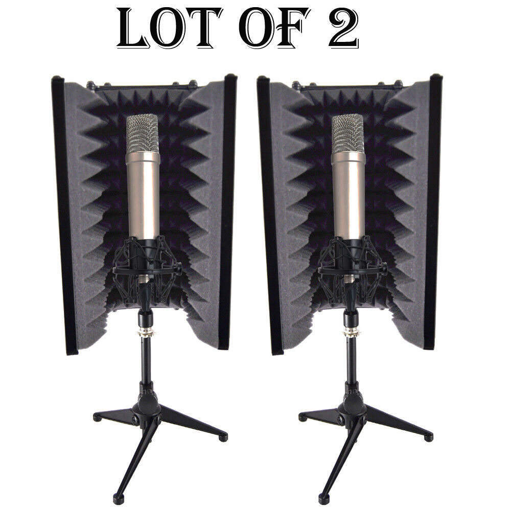 (2) Pyle PSMRS08 Compact Microphone Isolation Shield, Sound Foam Reflector