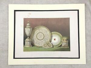 1862 Stampa Worcester Porcellana Grainger Cina Tavola Antico Cromolitografia