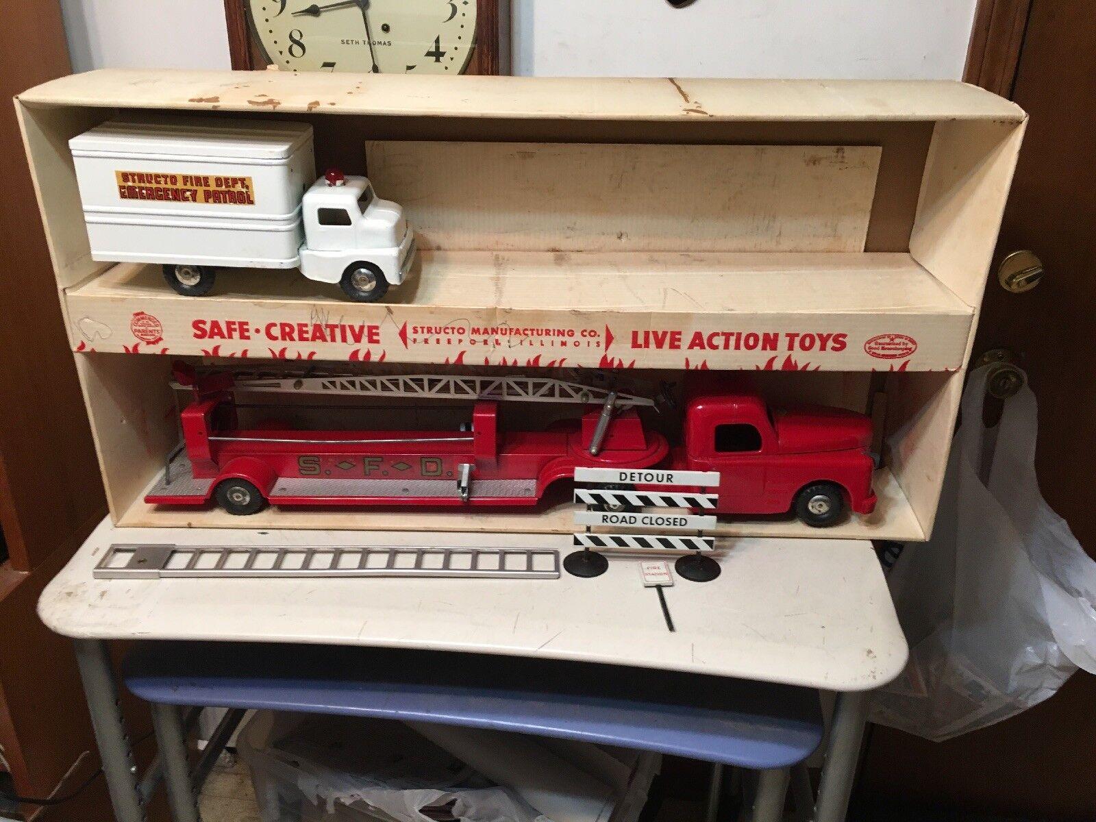 Rare Structo Toys  570 Fire Department Assortment Original Box Partial Set